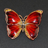 Vintage Enamel & Copper Butterfly Brooch