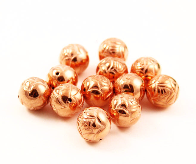 Large Round Copper Rose Beads
