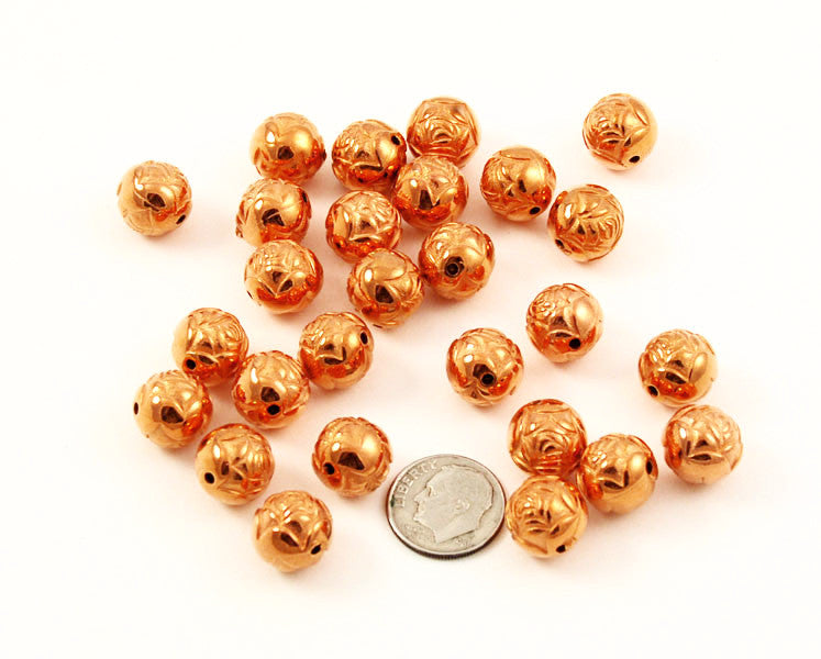 Large Round Copper Rose Beads 12mm