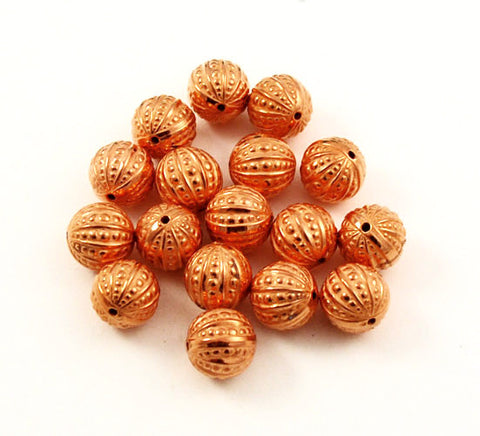 Copper Beads Embossed and Fluted Rounds 14 & 15mm