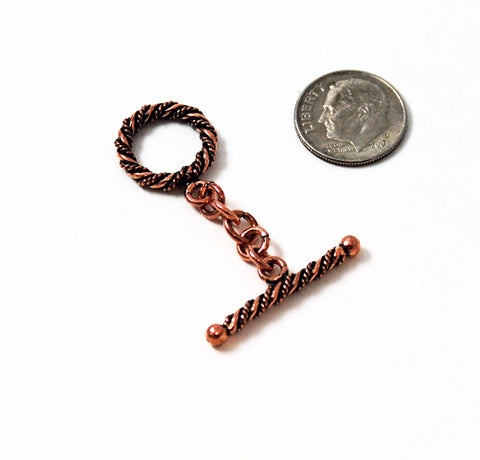 Bali Style Ornate Antiqued Copper Toggle