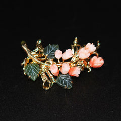 Carved Angel Skin Coral & Jade Gold Brooch