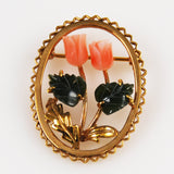 Angel Skin Coral & Jade Gold Brooch