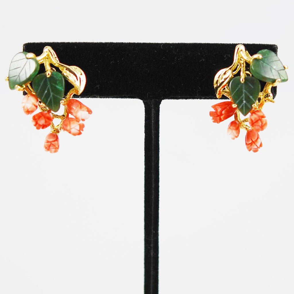 Carved Angel Skin Coral & Jade Gold Earrings