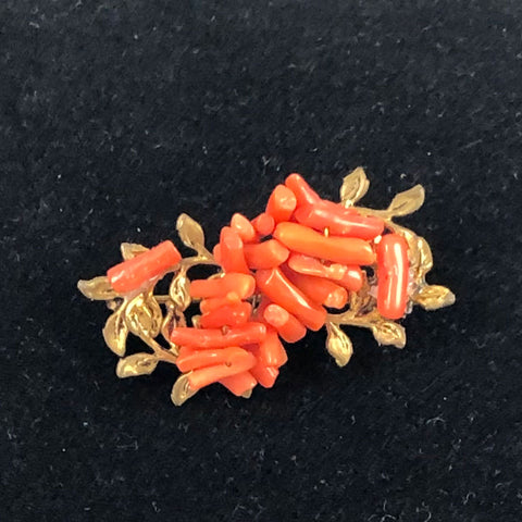 Italian Coral Brooch Antique