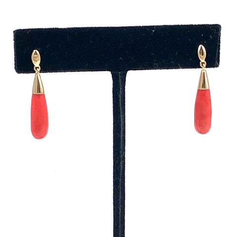 Georgian Red Coral Drop & 14K Gold Earrings