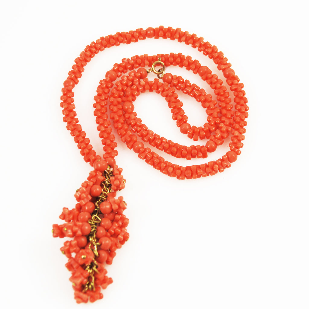 Faux Salmon Coral Tassel Necklace