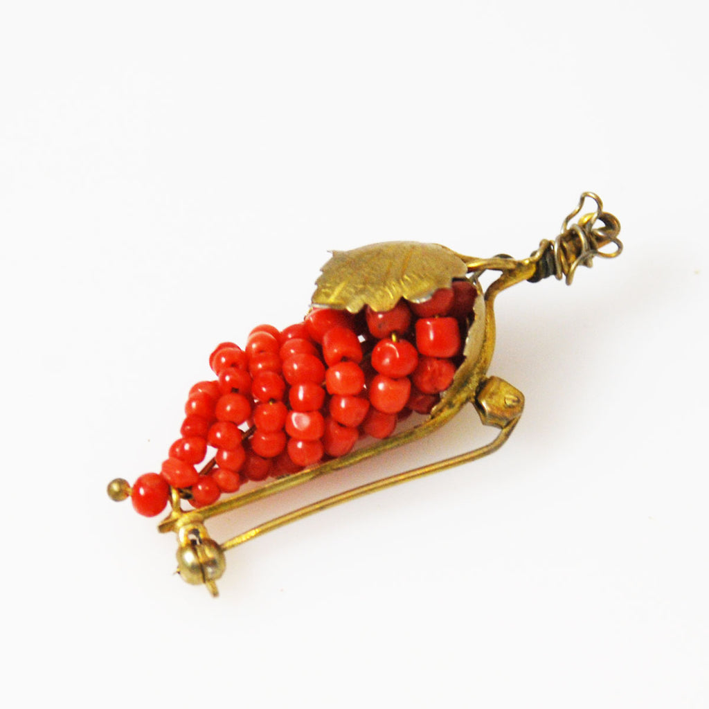 Coral Grape Brooch Italian Vintage