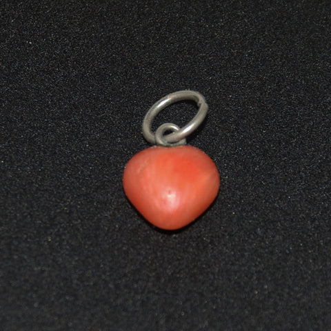 Victorian Coral Heart Charm