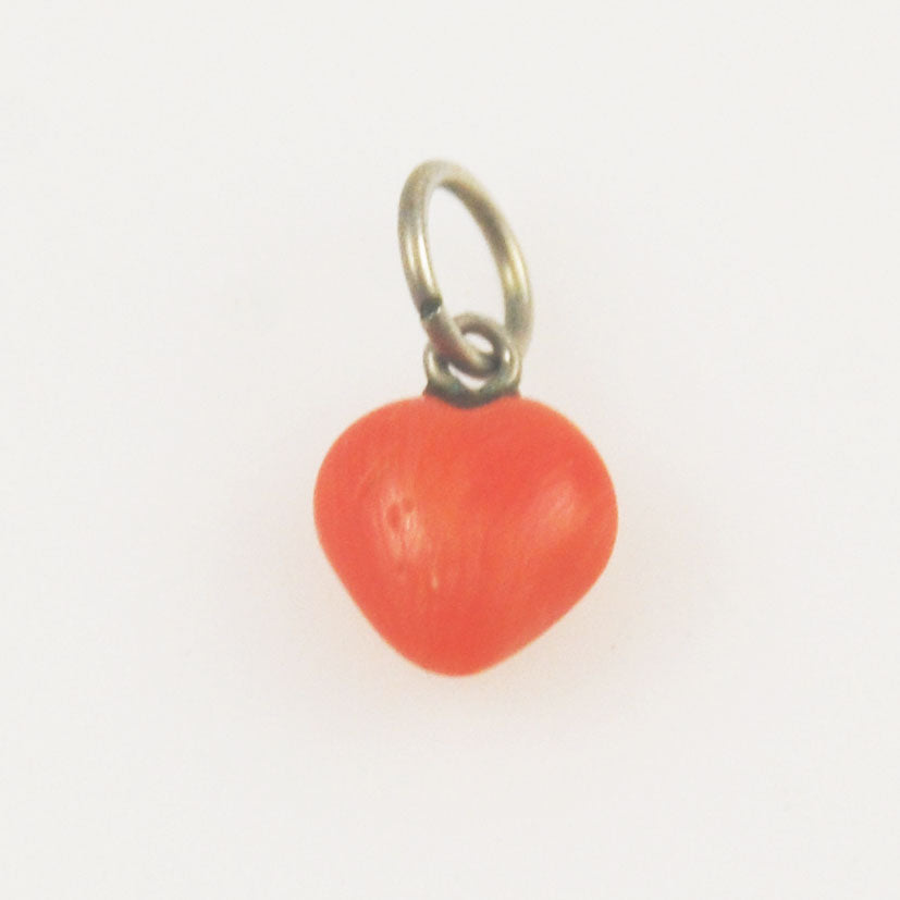 Coral Heart Charm Antique Victorian