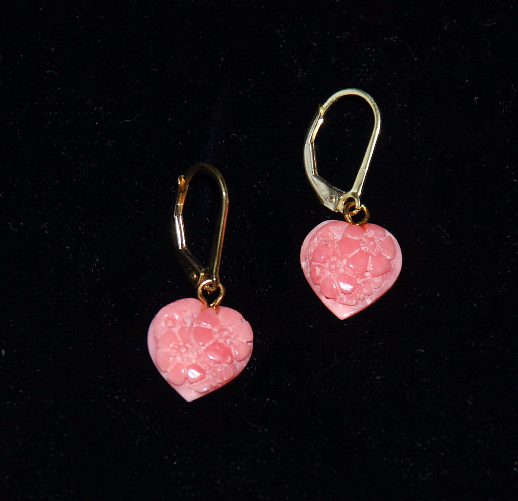 Pink Coral Heart Earrings 14Kt Gold Filled Vintage