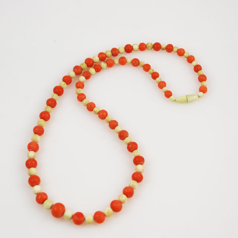 Antique Coral and Ivory Bead Necklace Victorian