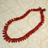 Italian Red Coral Victorian Necklace Picket and Berries