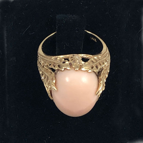 Angel Skin coral 14K gold ring vintage