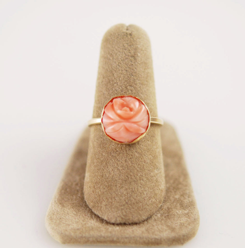 Pink Coral Gold Filled Ring