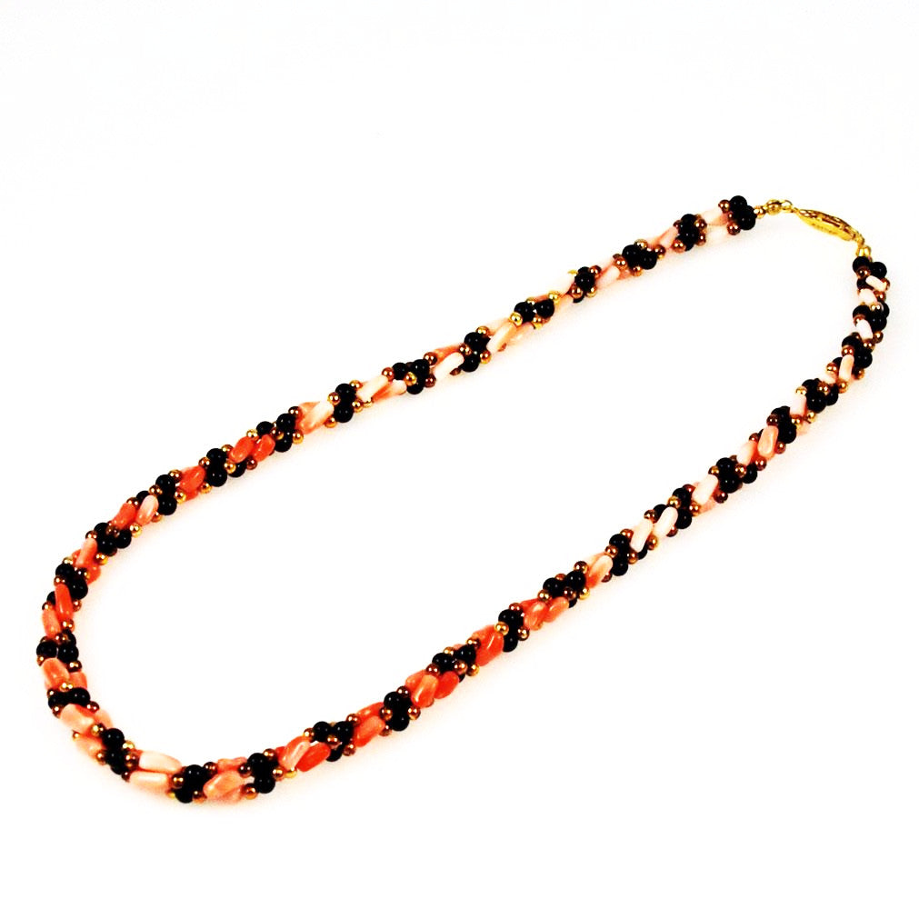 Pink Coral and Black Onyx Twist Necklace