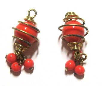 Caged Coral Glass Dangle Pendant Beads