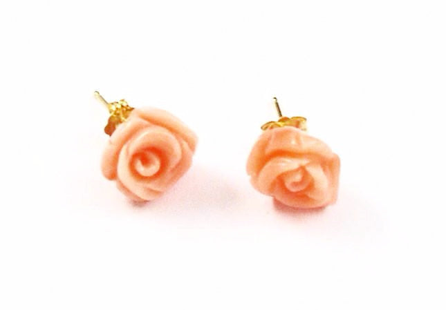 Pink Carved Coral Earrings 14Kt Gold Posts