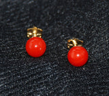 Italian Red Coral Button Earrings 14Kt Gold Posts