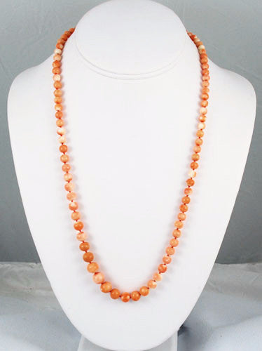 Antique Victorian Salmon Pink Coral Necklace
