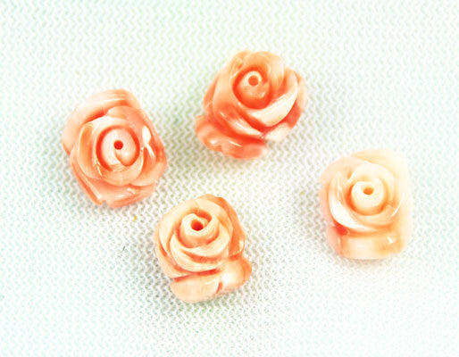 Pink Coral Carved Rose Cabochons