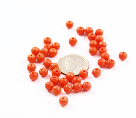Orange Faux Coral Glass 5mm Round Beads