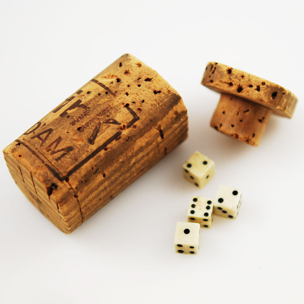 Dutch Bone Dice in Cork Shaker
