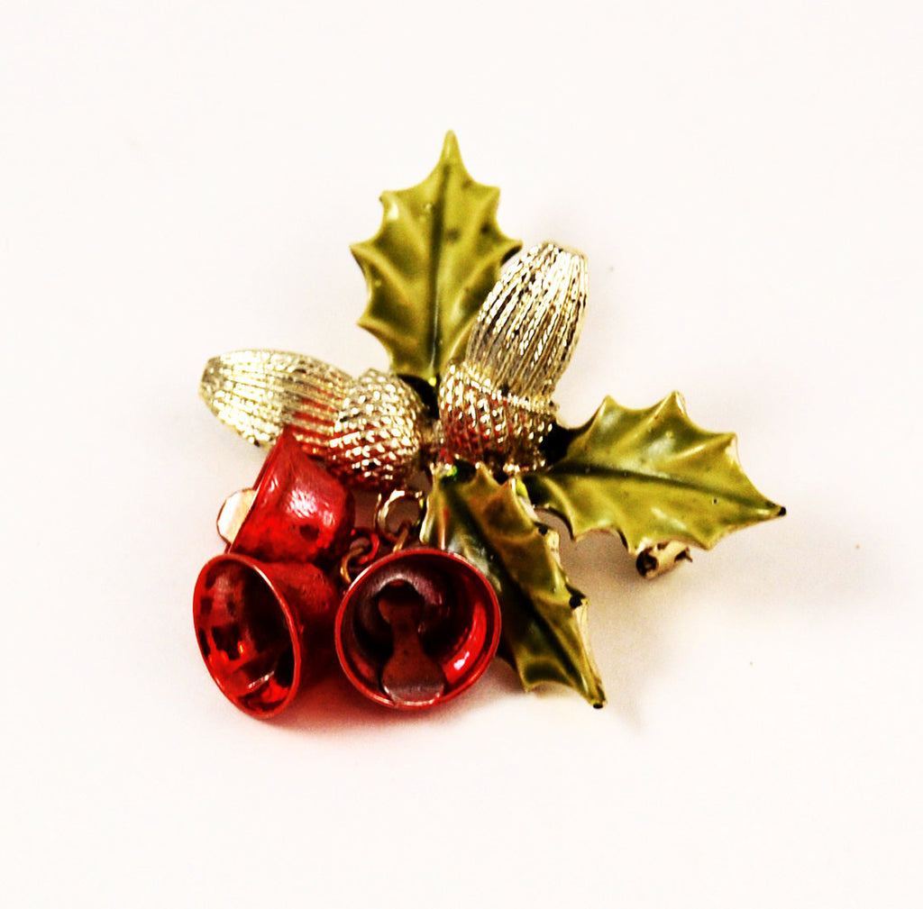 Coro Holly Bells Brooch Vintage Floral Holiday