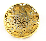 Back of Large CoroCraft Gold & Colorful Stone Brooch