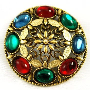 Large CoroCraft Gold & Colorful Stone Brooch