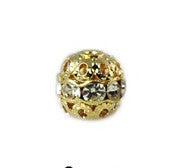 Gold Plated Crystal Rhinestone Beads