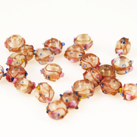 Lamp Work Wedding Cake Beads 12mm