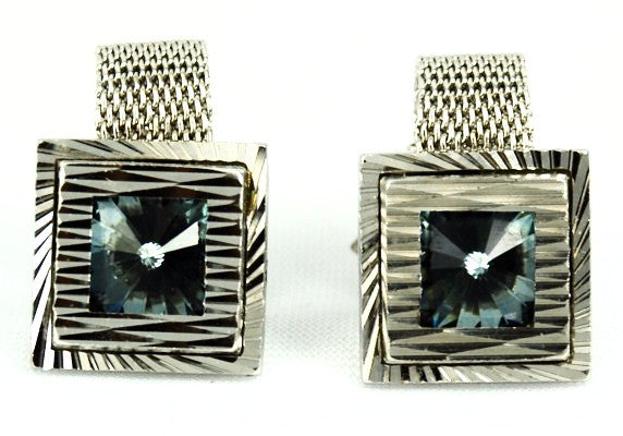 Light Blue Rhinestone Fold Over Cuff Links 1970's