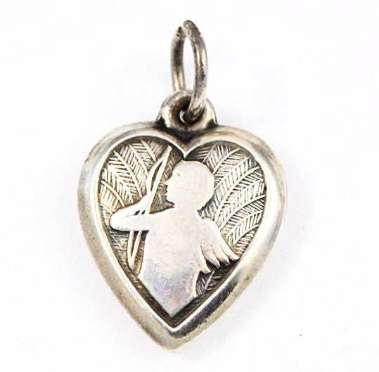 Sterling Cupid Heart Charm Engraved 1940's