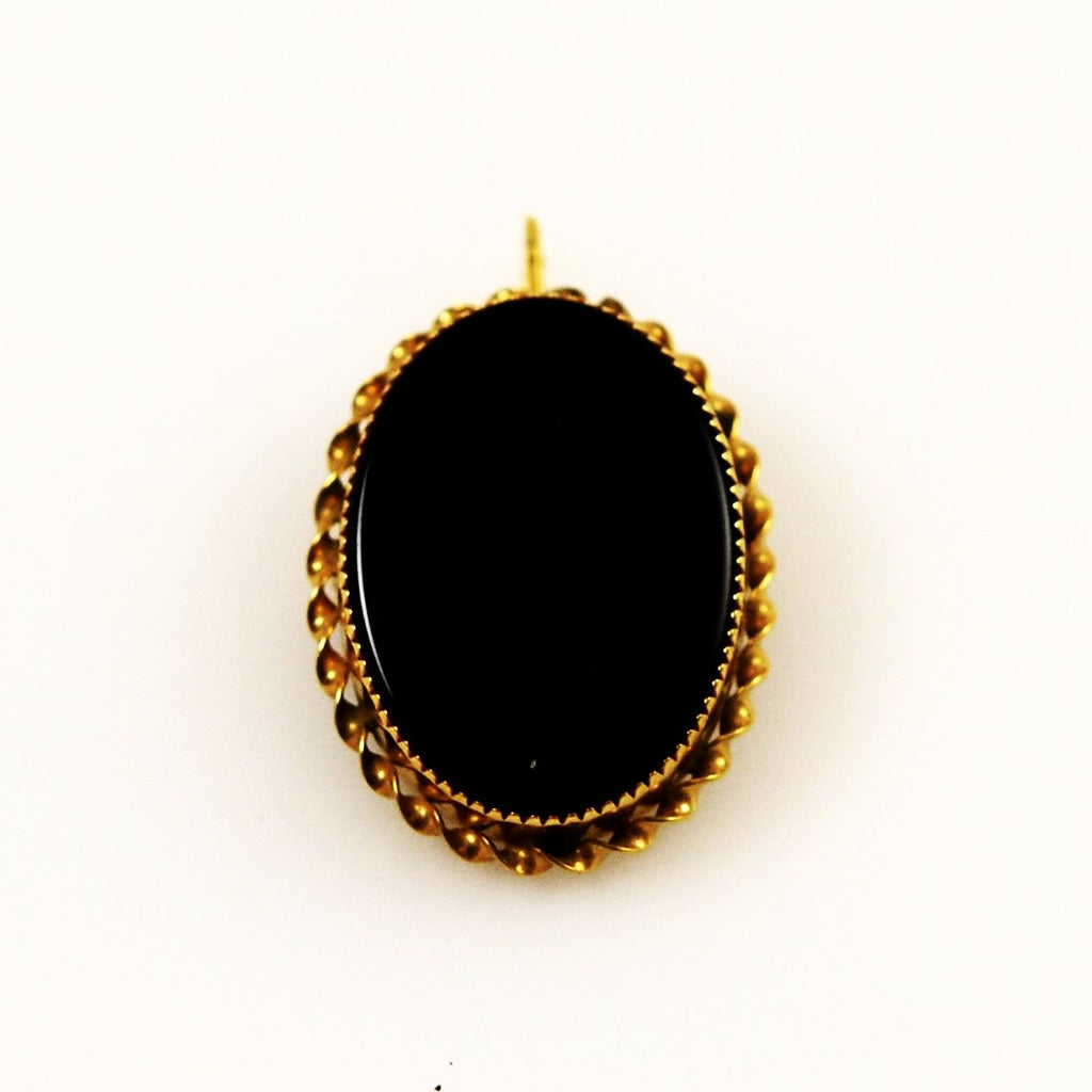 Victorian Revival Jet and Gold Mourning Pin