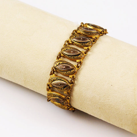 Spanish Damascene Gold Link Bracelet