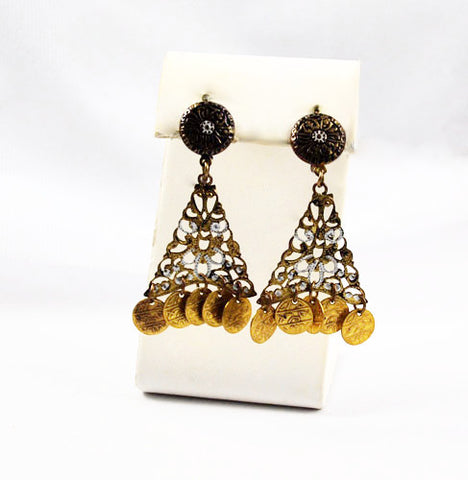 Spanish Damascene Gold Filled Earrings Vintage