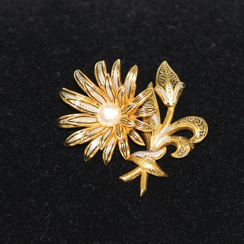 Gold Damascene Floral Brooch Spain