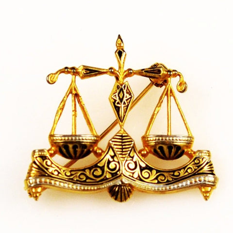Damascene Scales of Justice Brooch Vintage