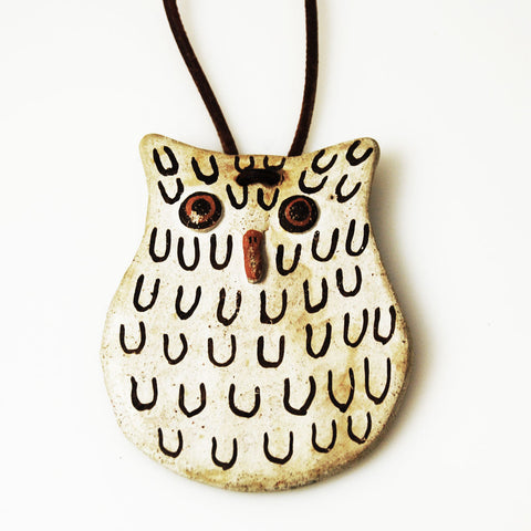 Dolores Lewis Acoma Pottery Owl Necklace