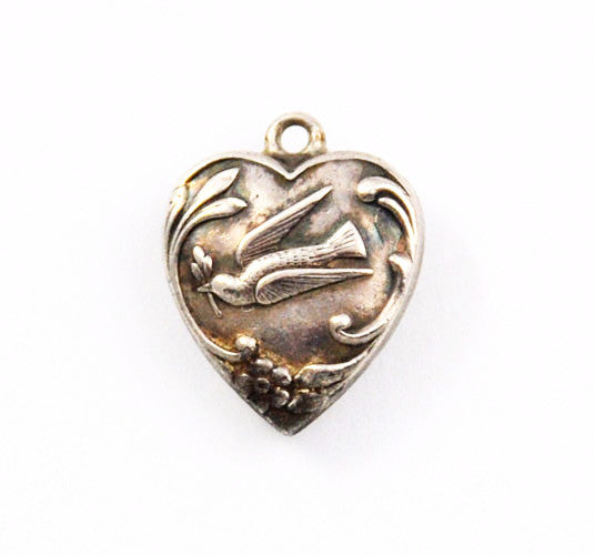 Sterling Peace Dove Heart Charm Engraved
