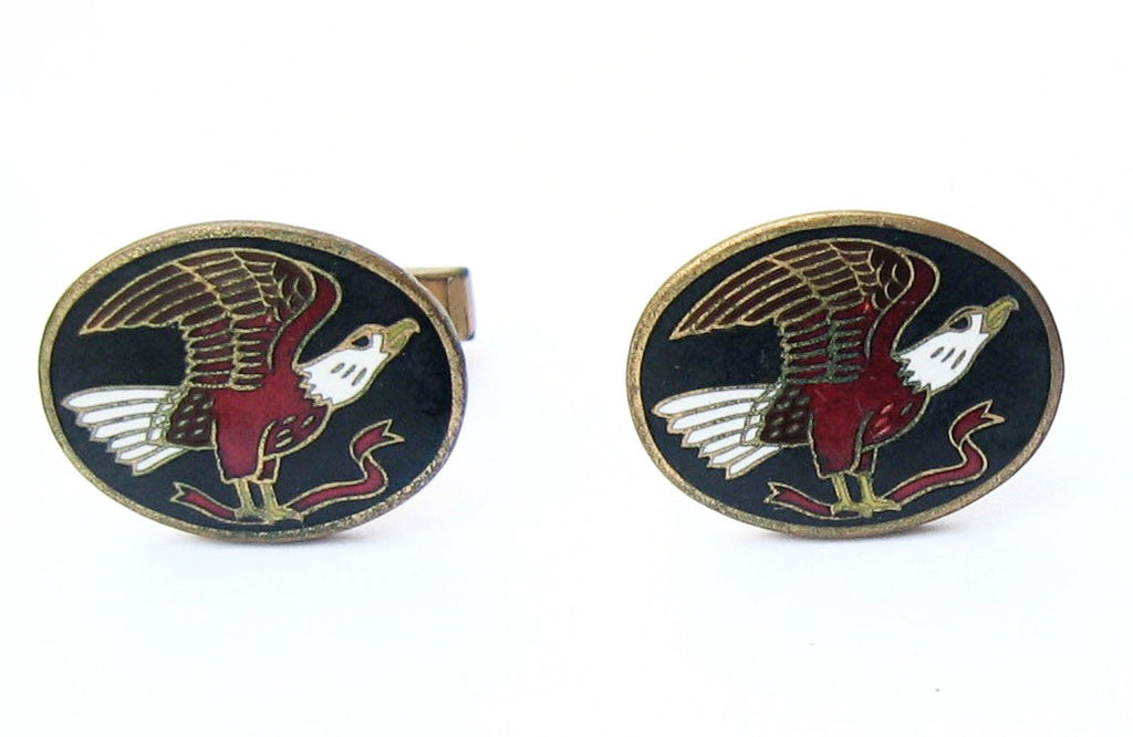 Gold Filled Patriotic Enamel Eagle Cuff Links 1960's