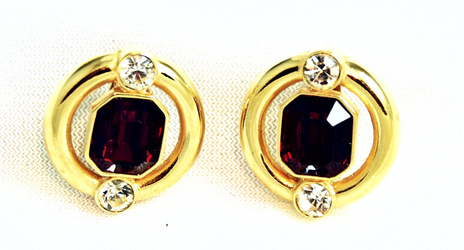 Givenchy Siam Crystal Clip On Earrings Signed Vintage