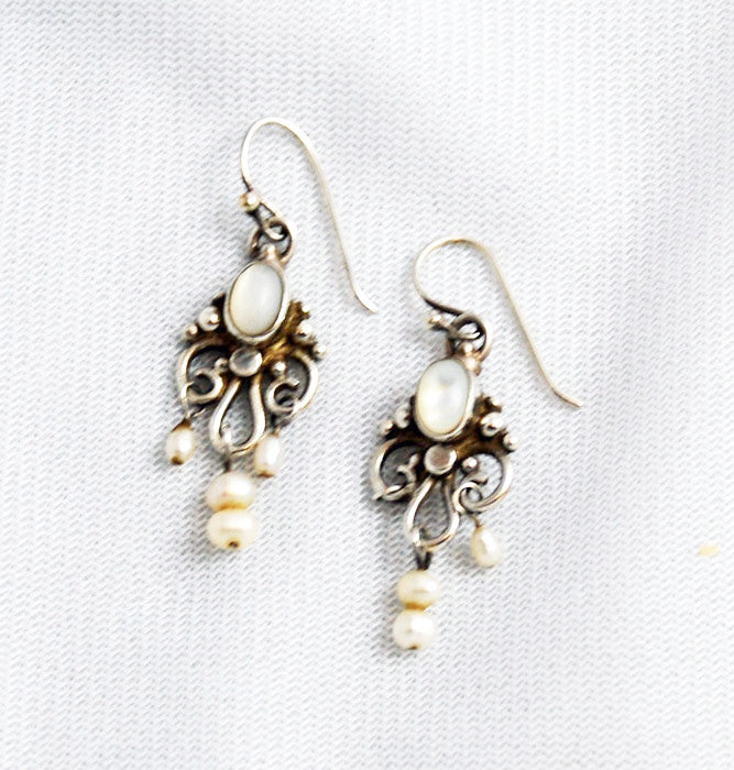 Moonstone & Pearl Chandelier Pierced Earrings
