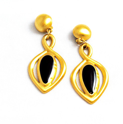Gold and Black Enamel Chandelier Clip On Earrings