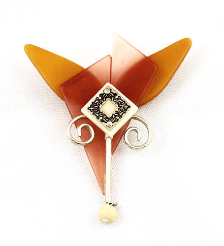 Effex Amber Celluloid Brooch