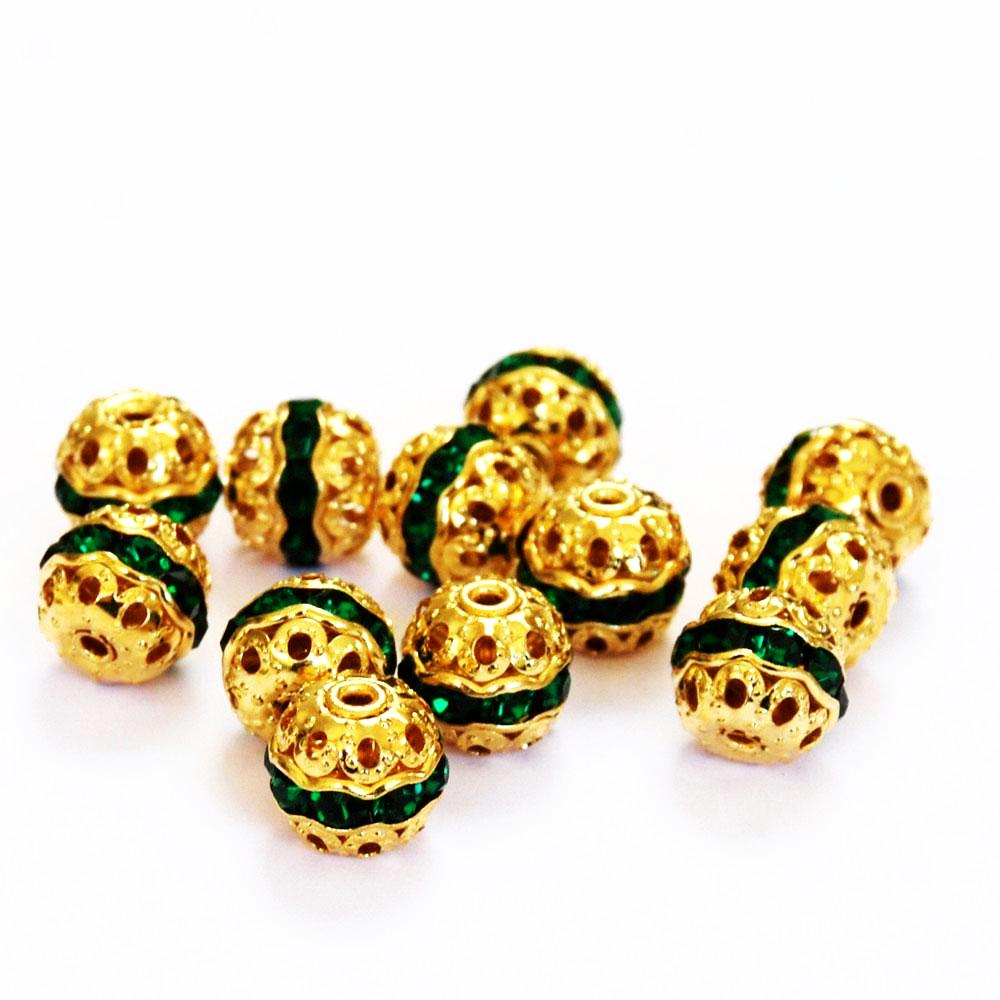 Gold Plated & Emerald Rhinestone 10mm Beads