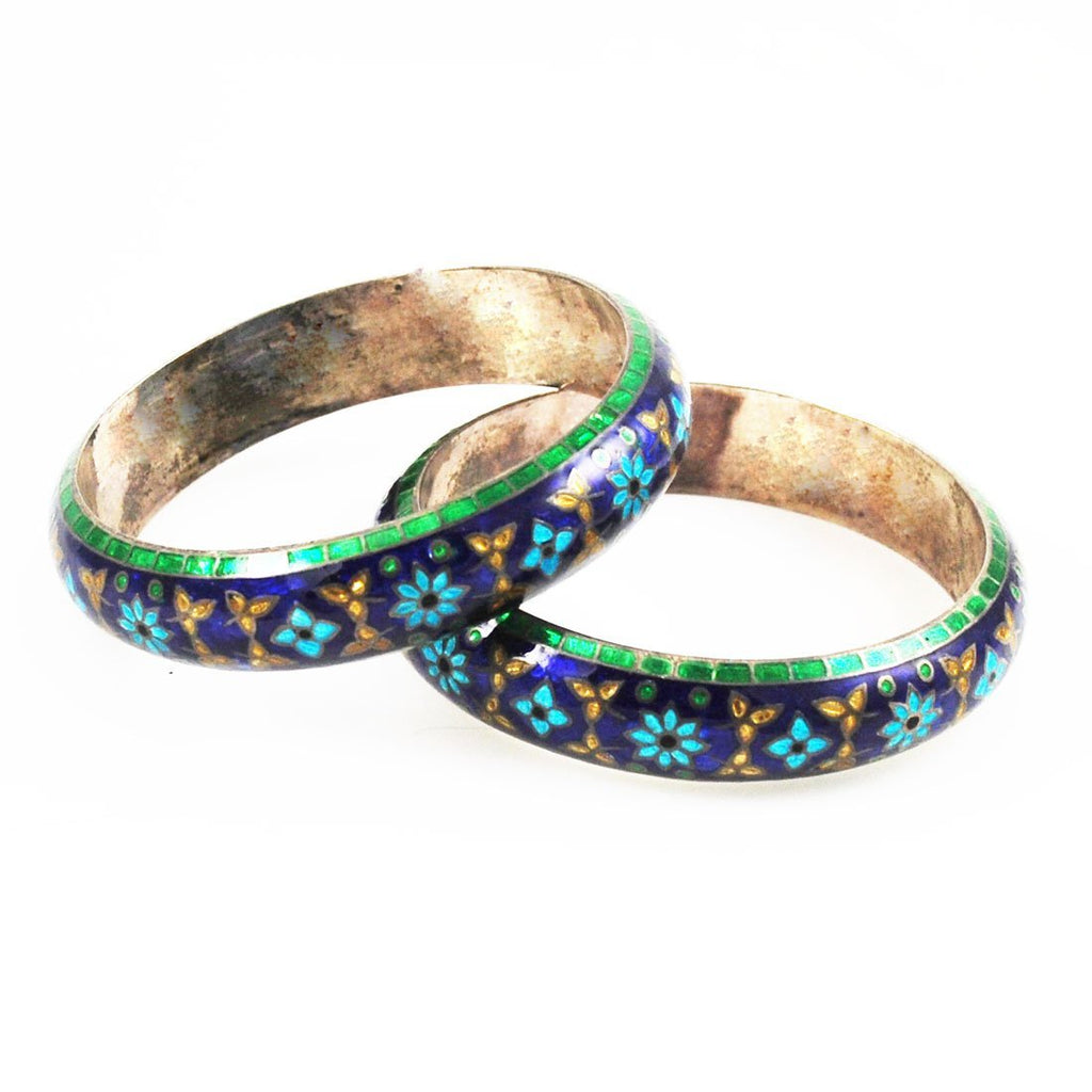 Pair of Blue & Green Enamel Floral Bracelets