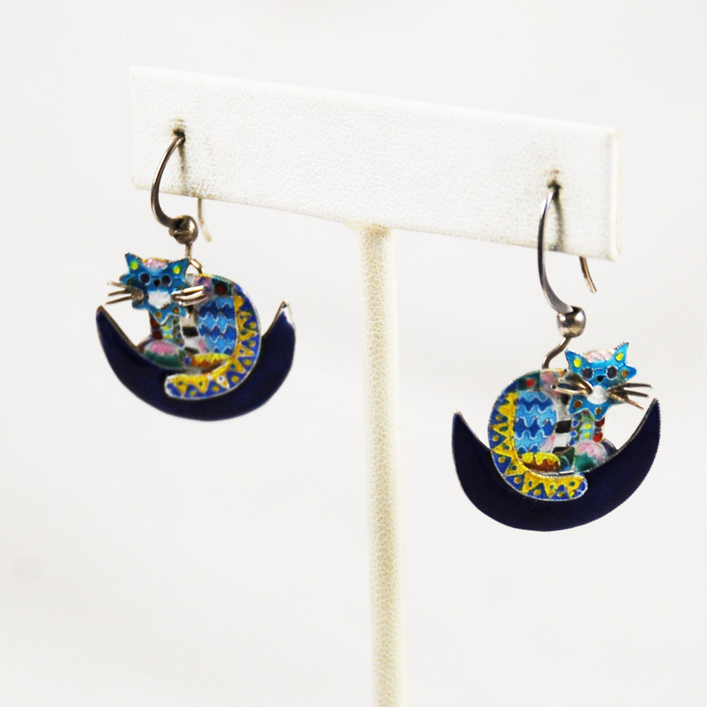 Enamel Cat Earrings on Sterling