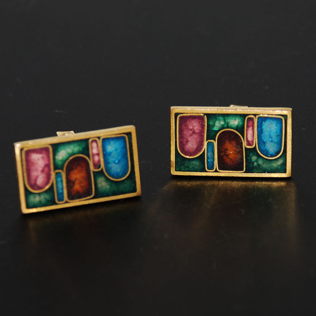 Modern Enamel Cuff Links 1960's